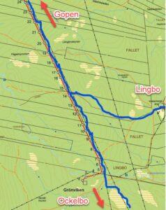 Ny kraftledning nordväst om Lingbo (röd linje), byggs bredvid befintliga kraftledningar där nuvarande skoterled går (blå märkning).