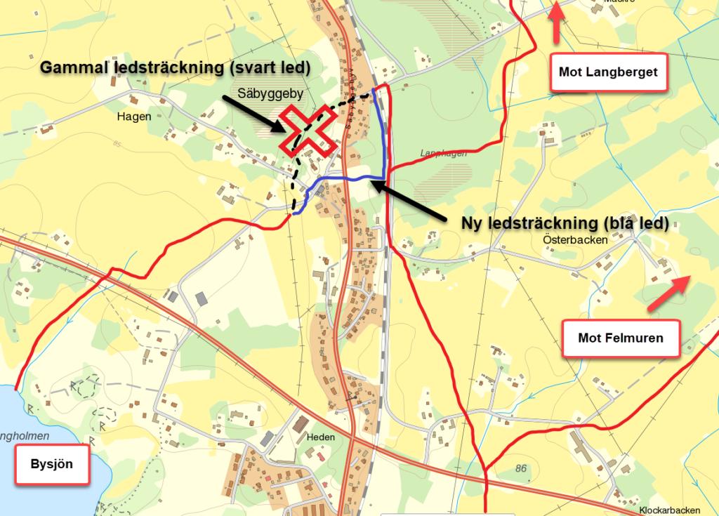 Omdragning av led i Säbyggeby